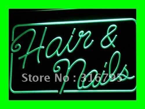 I322 cabelo aberto & unhas salão de beleza led luz de néon sinais de ligar/desligar interruptor 20 + cores 5 tamanhos