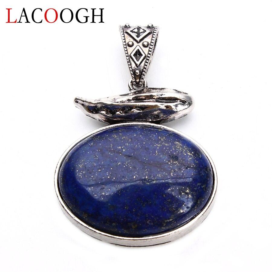 Nova moda lapis lazuli pedra natural antigo liga 42*61mm pingentes para mulheres colares diy artesanato jóias descobertas