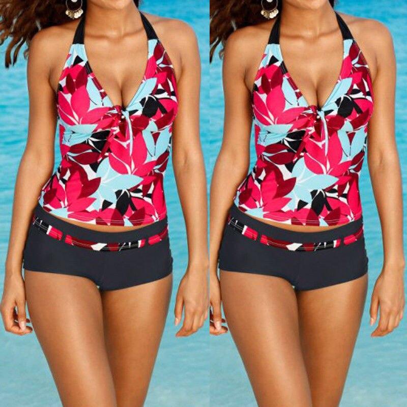 Conjunto de Bikini con estampado Floral, bañador Sexy para mujer, Tankini acolchado de realce, ropa de baño, Bikini, traje de baño para mujer