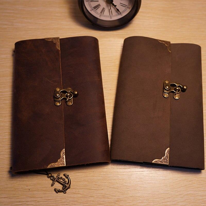 Caderno de couro genuíno artesanal do vintage bloqueio cor preta espiral diário losse folha kraft material escolar papel caderno