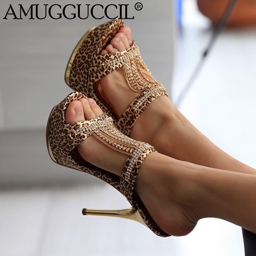 Plus Große Größe 34-43 Gold Schwarz Strass Mode Sexy High Heel Plattform Sommer Weiblich Frauen Dame Sandalen L695