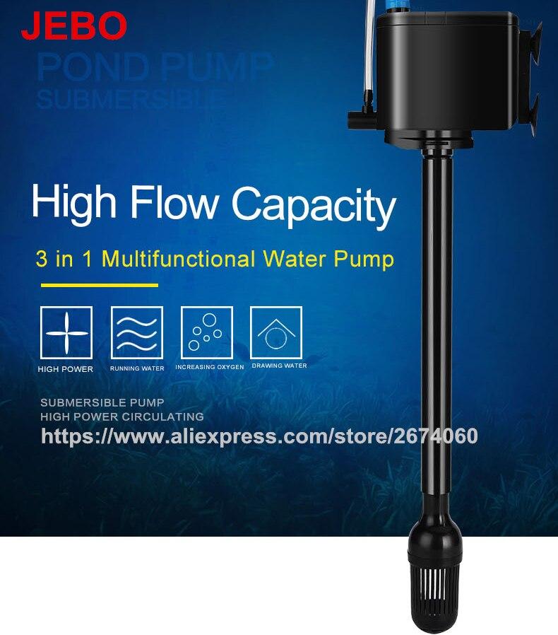 Bomba de agua multifuncional JEBO 3 en 1 para acuario, bomba de acuario de 20W para tanque de peces, bomba de circulación de agua súper silenciosa AP119B