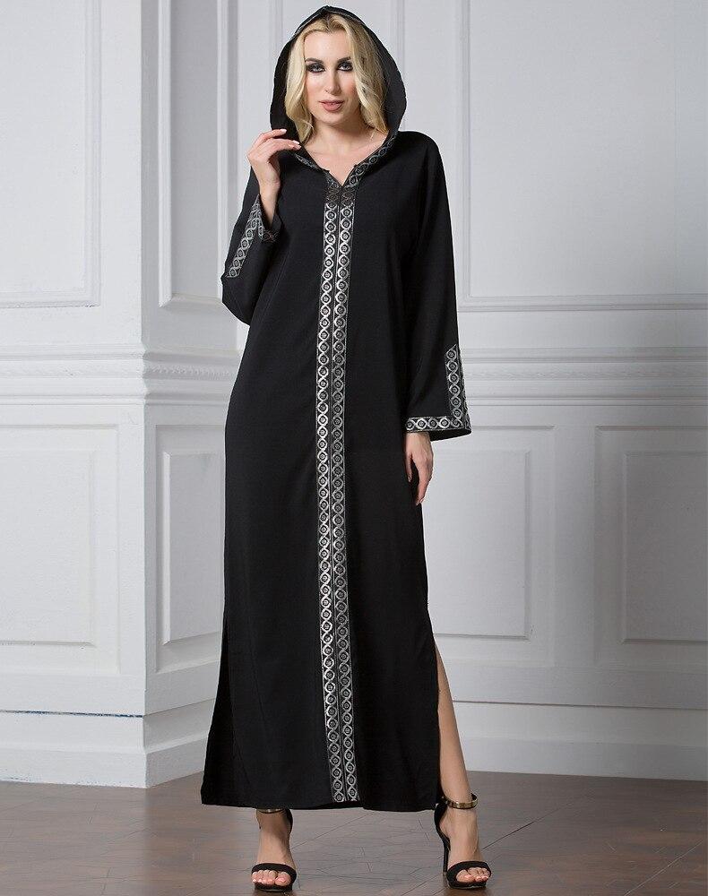 2019 musulmanes capa vestido largo turco negro abayas de mujer