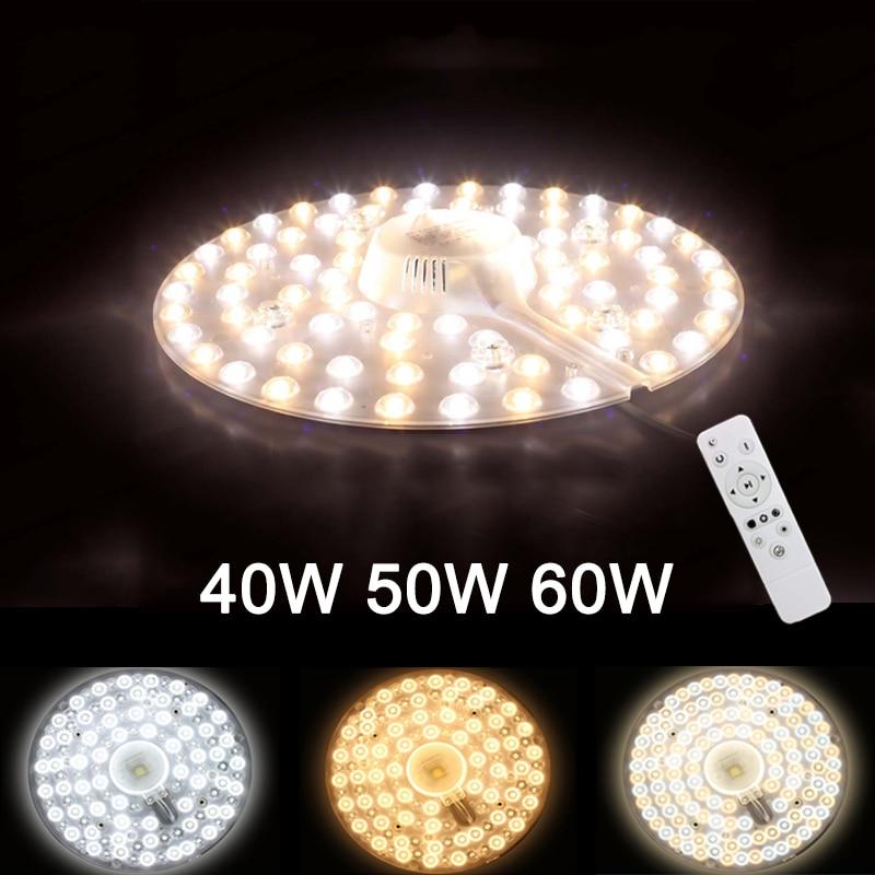 Fuente de luz LED reemplazable por control remoto para techo tres colores 40 W/50 W/60 W 185 V-240 V con reemplazo de luces Led magnéticas