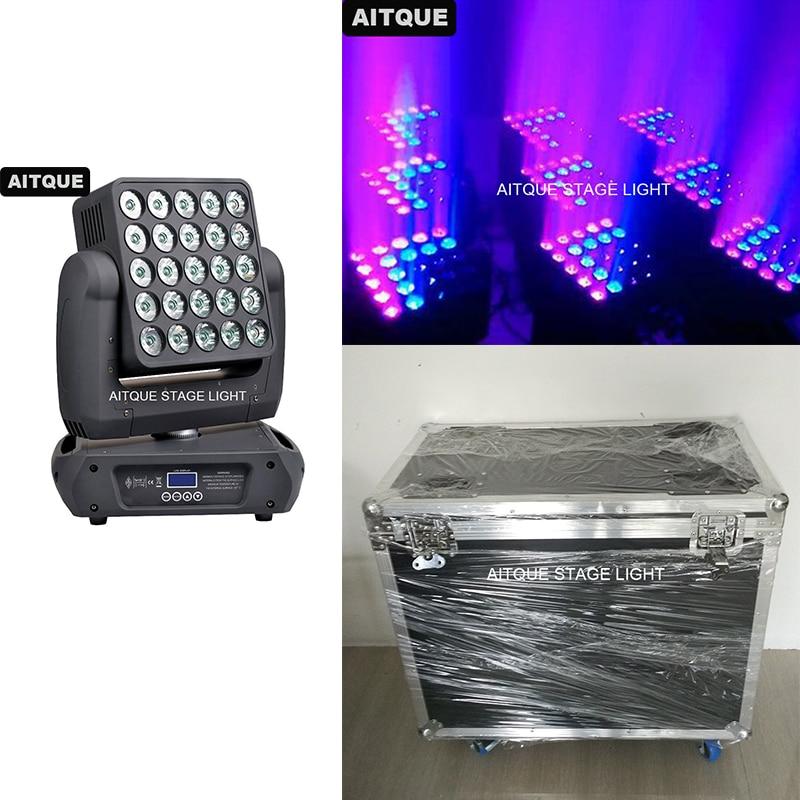 (2 lotes/caja) Discotheques lyre panneau led matriz de haz 25x10w led cabeza móvil light etapa luz led panel caja de vuelo