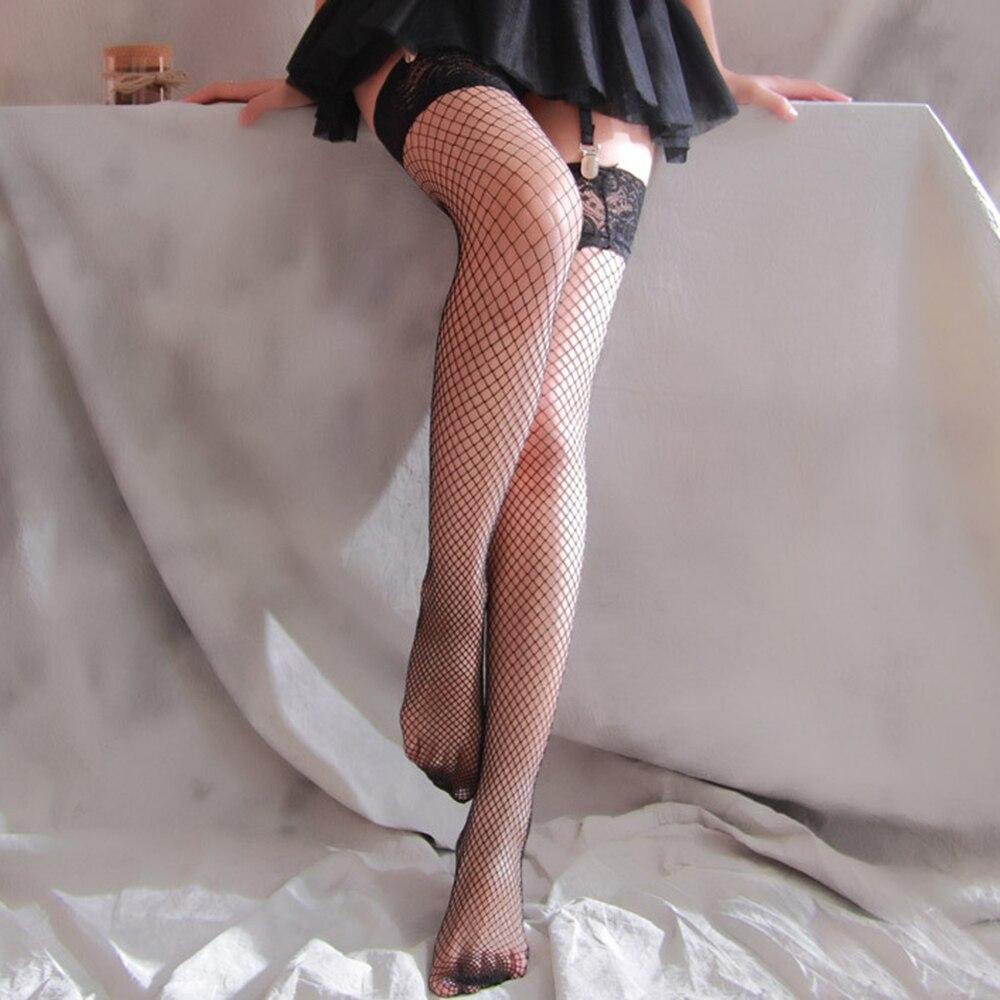 Calzas sexis medias de red para mujer atadas sobre la rodilla de encaje de malla transparente para Fiesta Club negro blanco Harajuku
