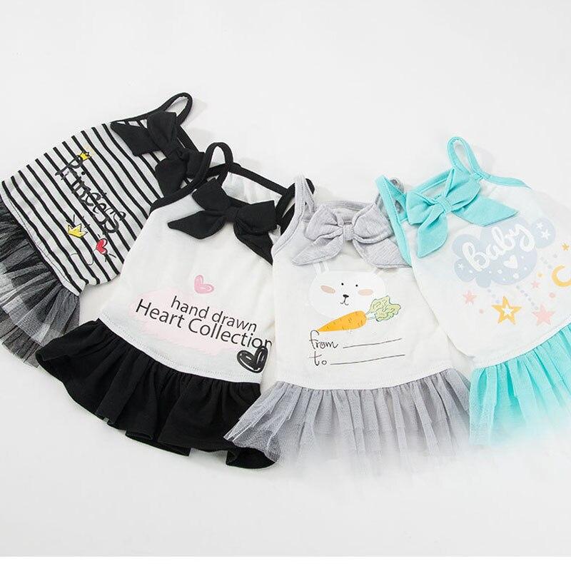 2019 vestido para perros y mascotas Tutu princesa verano cachorro perros gato vestidos falda ropa Poodle Pug 100% algodón Sling Tutu vestido ropa T7