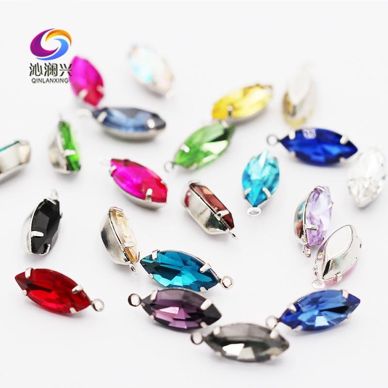 7x15mm 20pcs/bag eye shape crystal glass flatback sew on stones with hole,Silve/gold bottom rhinestones diy Clothing accessories