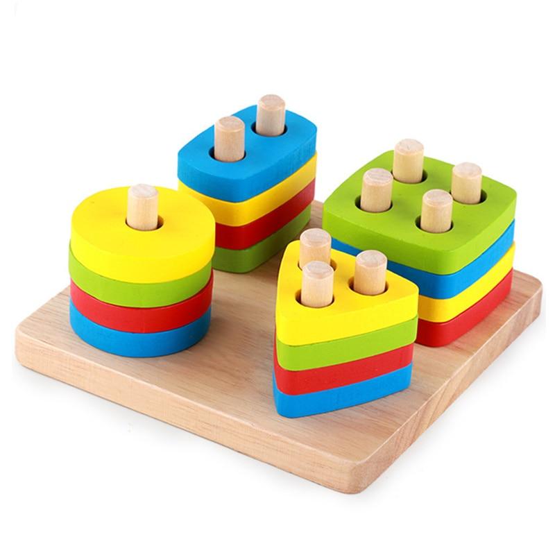 Baby Toys Montessori Wooden Geometric Sorting Board Blocks Kids Educational Toys Building Blocks Child Gift