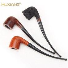 MUXIANG-tuyau de tabac en bois à longue tige   Pour tuyau de tabac fait à la main adapté à un filtre de 3mm en bois courbé, aa0334