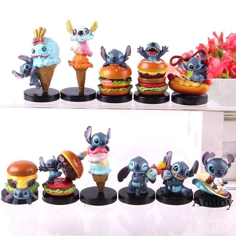 Q versión de Stitch figura de acción Lilo & Stitch Ice Cream Hamburger Ver. Modelo coleccionable de PVC, juguete para regalo de Anime para niños, 11 unids/set