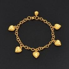Anniyo coeur Bracelets avec cloche pour les femmes école filles or couleur mariage breloque bracelet bijoux petite amie/mère cadeau #007507