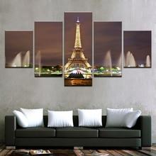 캔버스 인쇄 그림 벽 예술 홈 장식 5 조각 에펠 탑 분수 밤 풍경 사진 거실 포스터 프레임 워크