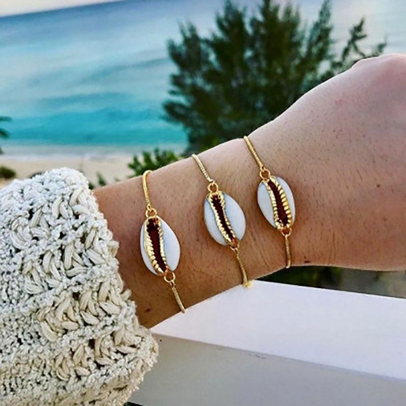 Novo boêmio escudo de praia charme ajustável pulseira feminina liga de ouro corrente pulseira jóias acessórios presente SL-103