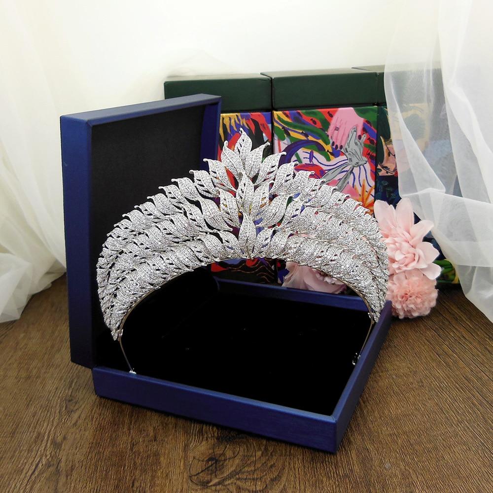 Circonita De hoja grande para boda, circonita De corona, Tiara CZ, Tiaras y coronas, Diadema nupcial, couonne, bisutería, Cheveux WIGO1393
