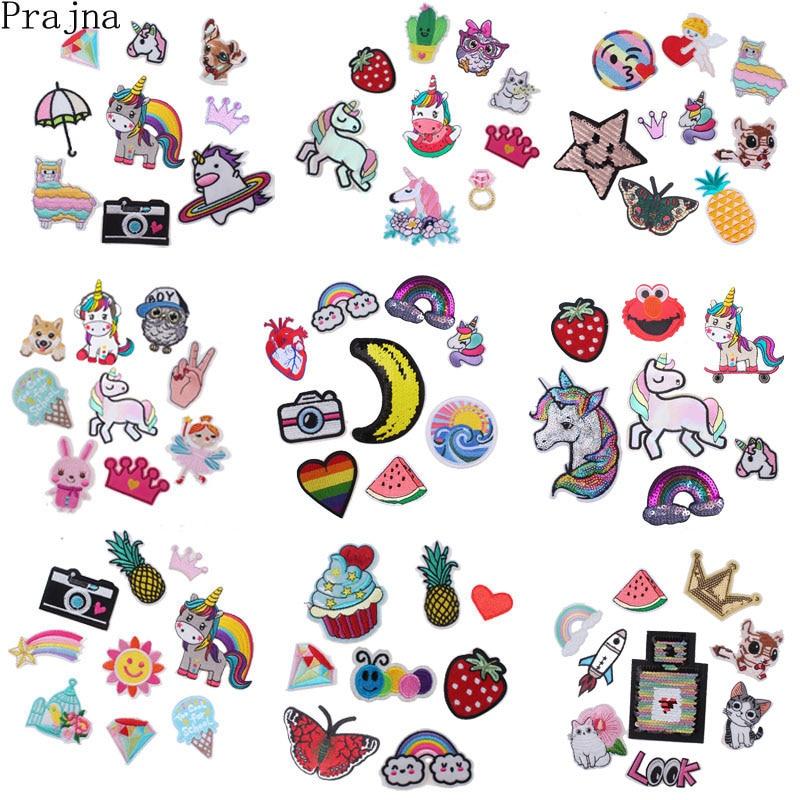 Prajna, conjunto de parches de dibujos animados de gato, parches para planchar, lote de bonitos unicornios bordados, baratos, para ropa de niños, tela