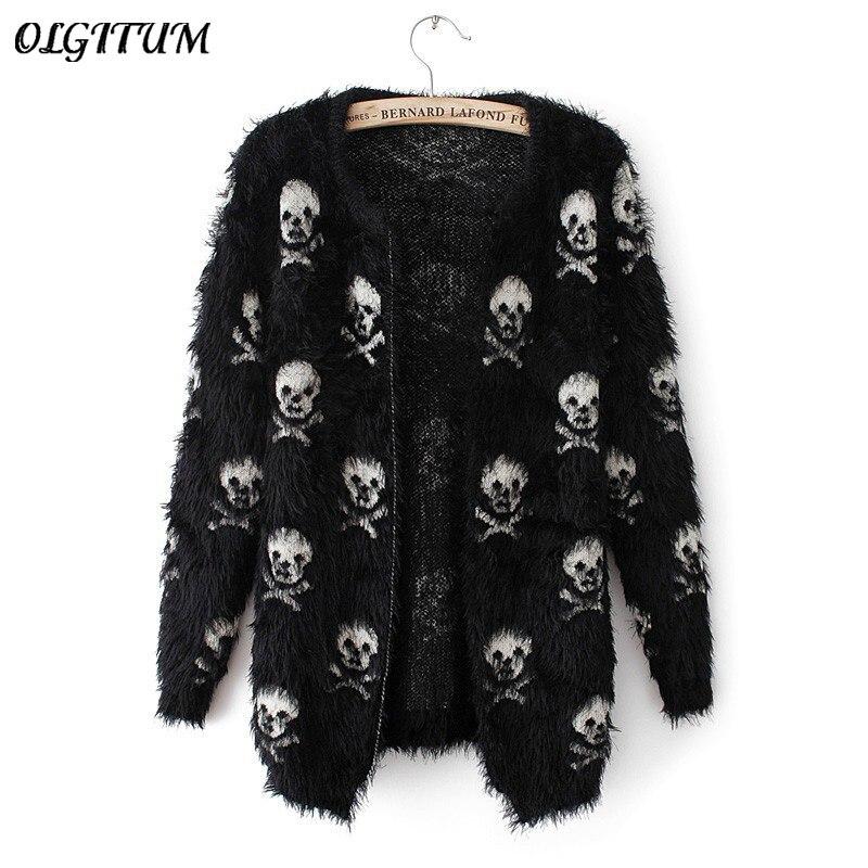 Осень-зима 2020, новый женский свитер, вязаный шерстяной свитер с черепом, модный кардиган, свободный свитер, пальто