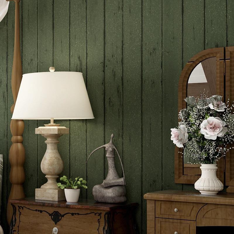 Beibehang nostálgico Retro imitação de madeira folheado wallpapers quarto sala sofá TV backdrops verde papel de parede listrado