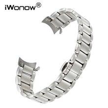 Curved End Edelstahl Armband für Omega Tissot Longines Mido Uhr Band Schmetterling Schnalle Handgelenk Armband 18 20 22mm