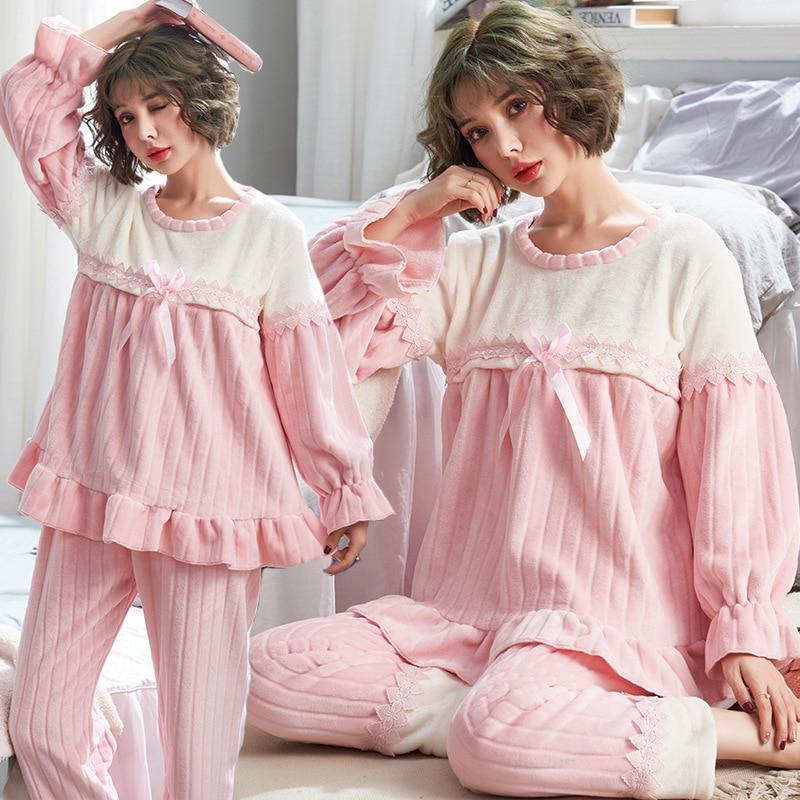Postpartum Women Pajamas Flannel Long Sleeve Maternity Adjustable Trousers Pregnant Nursing Bedgown Set Bowknot Turn-down Collar