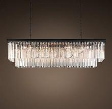 Z nouveau grand lustre en cristal de pays américain salle à manger créative rectangulaire lampe à suspension en cristal LED éclairage RH lustre