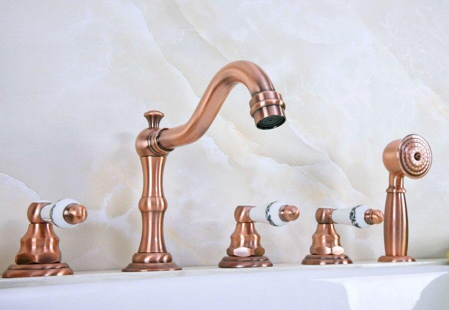 Cubierta de latón de cobre rojo antiguo 5 agujeros grifo mezclador de bañera ducha de mano conjunto de grifo de lavabo para baño atf225
