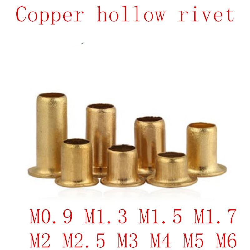 100-500 Uds M0.9 M1.3 M1.5 M1.7 M2 M2.5 M3 m4 m5 m6 remaches tubulares de doble cara placa de circuito PCB uñas cobrizo hueco remache