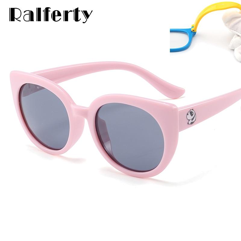 Ralferty 2018 Flexible Kids Sunglasses Polarized Girls Cat Eye Sun Glasses UV400 Child Sunglass Eyewear Silicone Eyeglass K1876