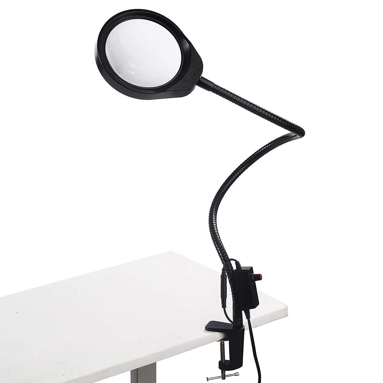 10x20x مكتب كبير كليب عدسة LED مكبرة الزجاج مضيئة مصباح مكبر العدسة القراءة/إعادة العمل/لحام 3X 5X 8X 10X إطالة الأسلحة