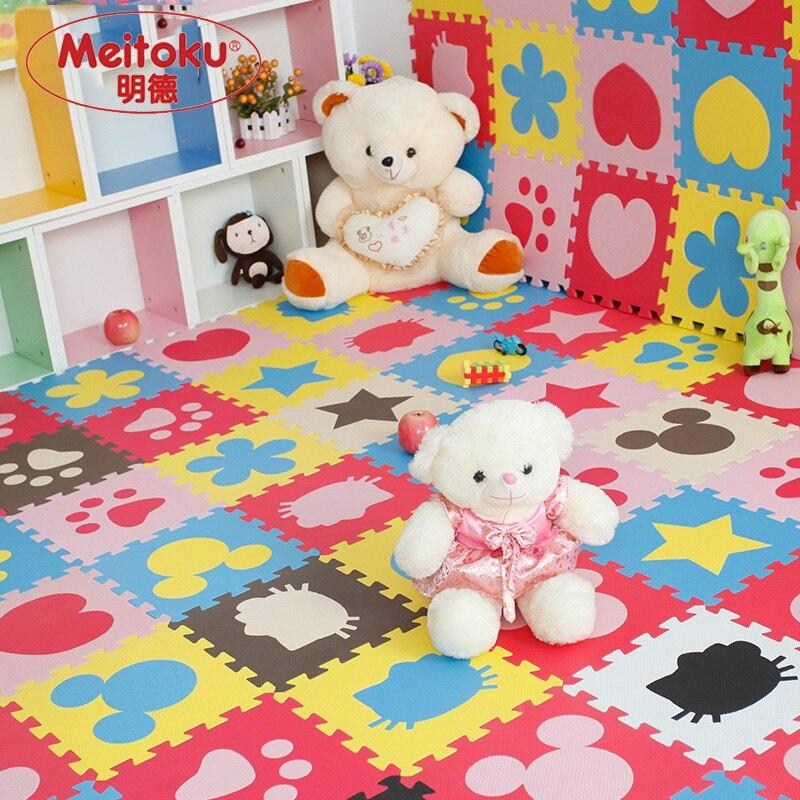 Meitoku bebé rompecabezas de espuma EVA espuma estera del juego/enclavamiento ejercicio baldosas de moqueta para suelo alfombra para niños Each32cmX32cm 1cmThick 24 unidad/bolsa