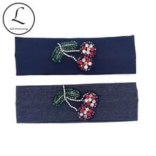 Bandeaux Turban en coton fin pour filles   Bandeaux décontracté és dété de couleur cerise et diamants pour bébés enfants, banderoles de coiffure Sport pour école