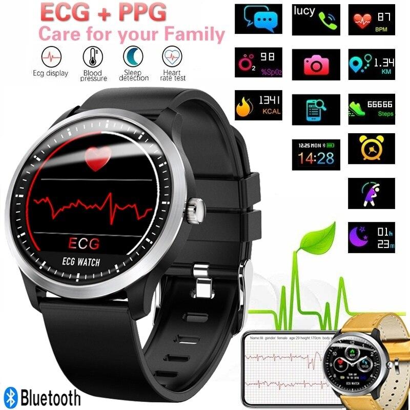 N58 ECG reloj inteligente para hombre Pantalla de ritmo cardíaco Monitor de sueño 3D UI Multi-sport Fitness Tracker pulsera inteligente ACERO INTELIGENTE banda de reloj