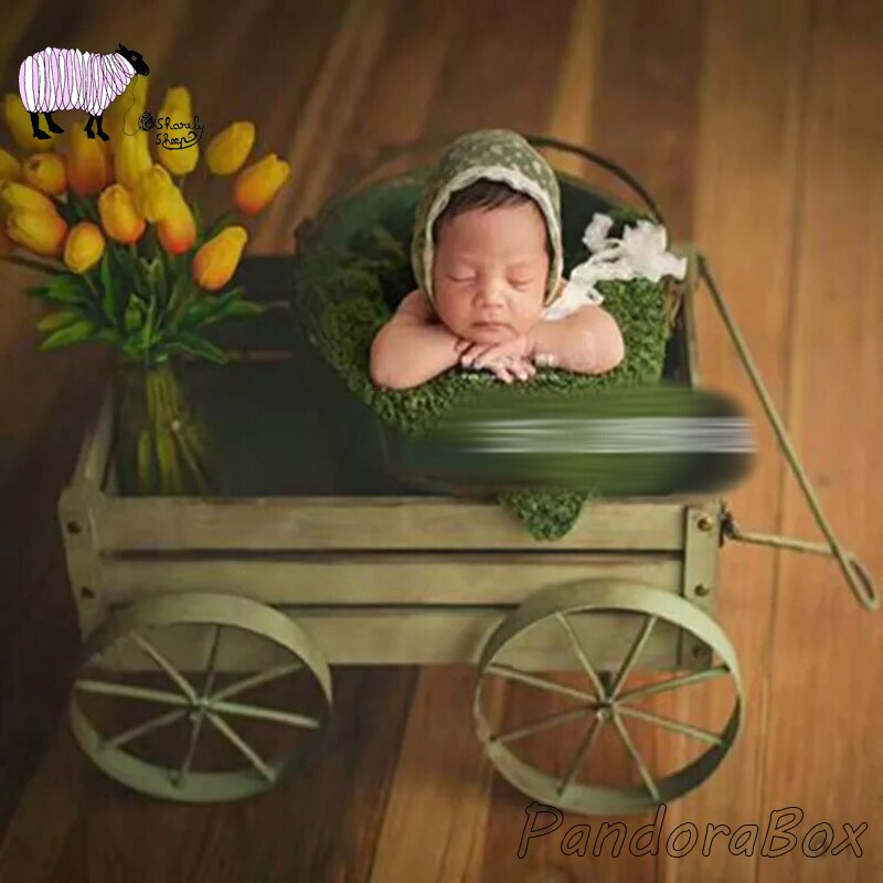 Newborn Photography Props Wood Car Basket Baby Photo Shoot Studio Posing Bed Basket fotografia Accessory Baby fotoshooting Props
