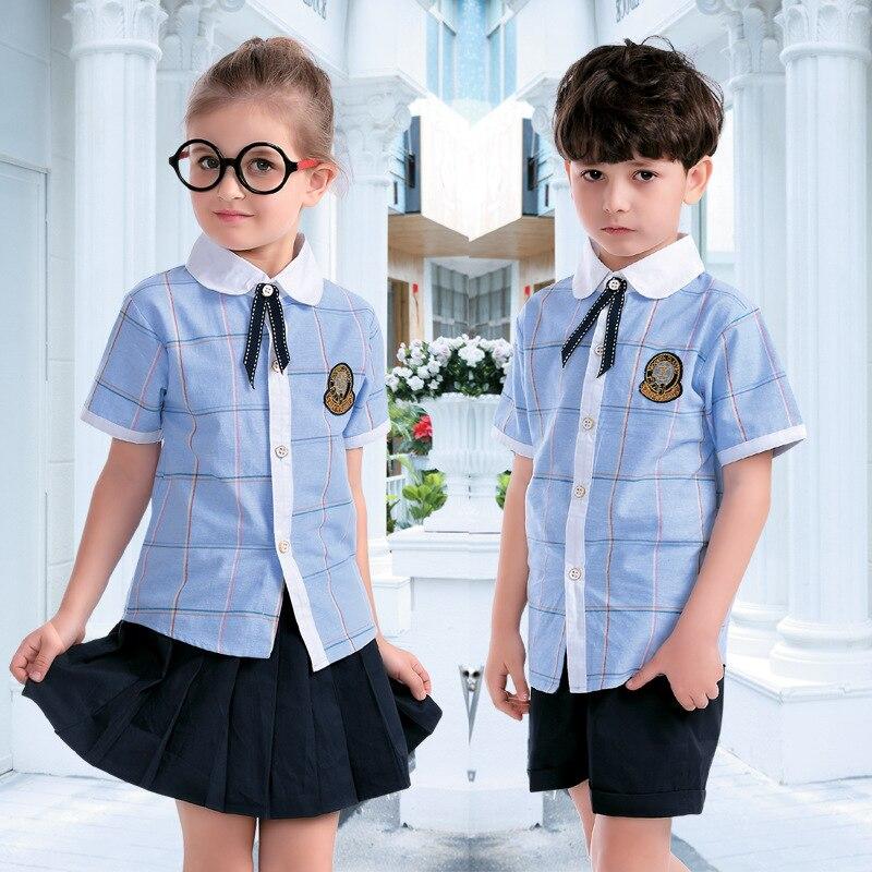 Uniforme Da Escola dos miúdos Crianças Manga Curta Ternos Meninos Meninas do Marinheiro da Marinha Camisola Desgaste Da Escola Roupas Estudante Jaqueta Britânico D-0553