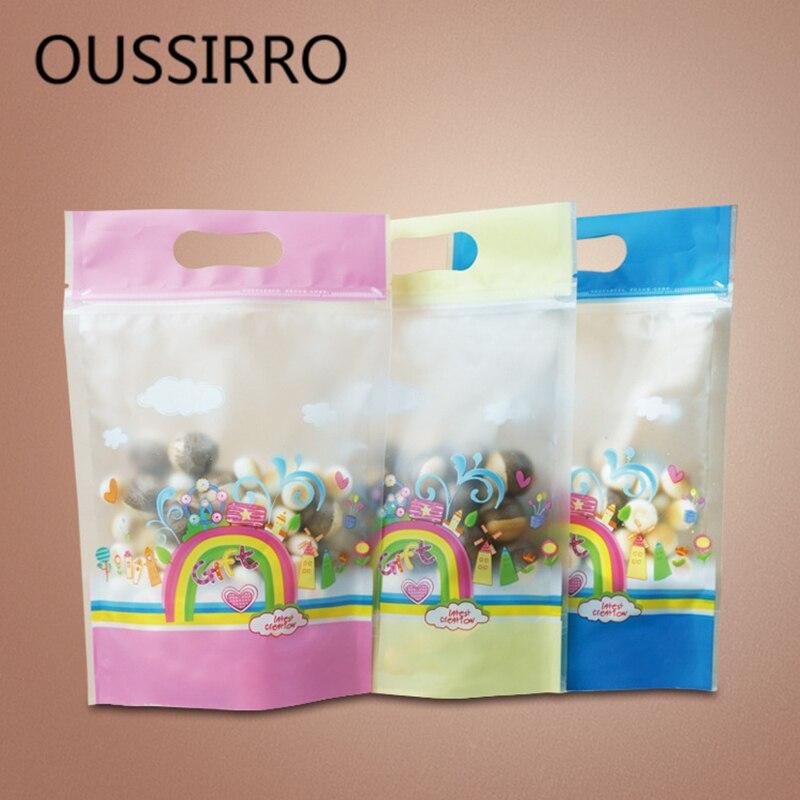 10 sztuk/partia Rainbow pieczone jedzenie worek do pakowania wesele cukierki herbatniki samouszczelniająca torba na zamek błyskawiczny diy prezenty pieczenie ciasteczek torby