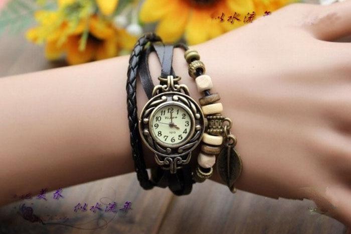 Relogio Feminino Vintage Women Watches Quartz Weave Around Leather Key Bracelet Wrist watches Clock Gift bayan kol saati 2018