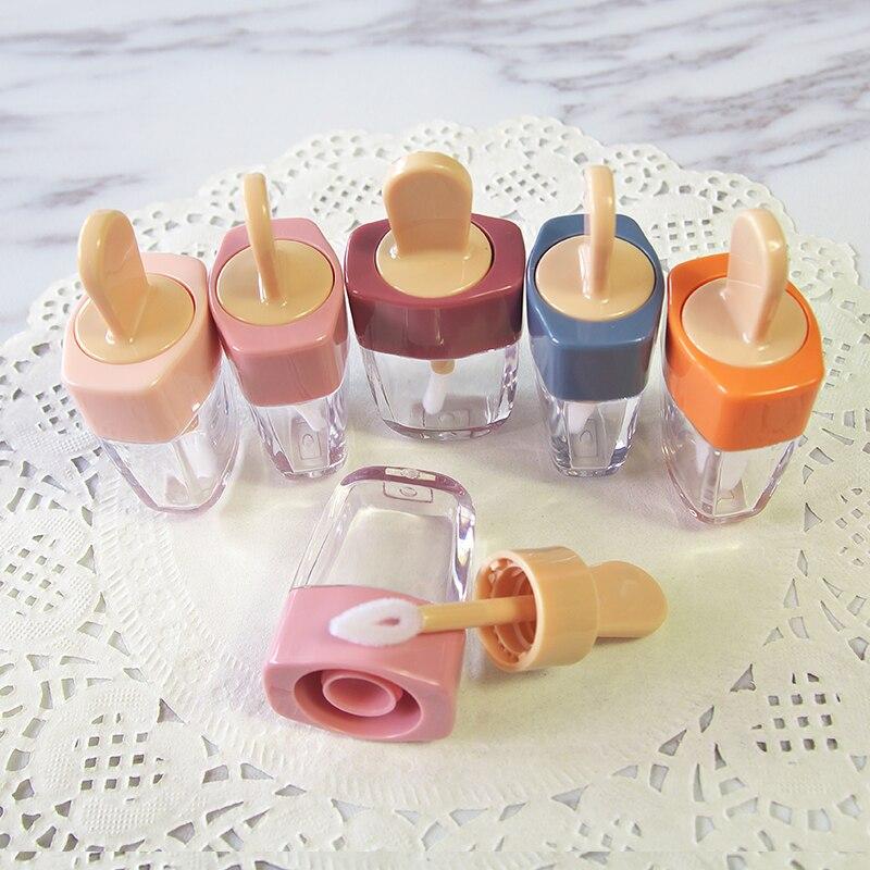 Colorful Empty DIY Lip Gloss Bottles Pink Green Orange Sweet Ice Cream Shape Cute Lipgloss Lipstick Tube for Girls 20pcs/lot