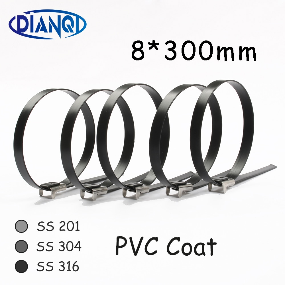 8*300 8mm 8x300 Stainless Steel Zip PVC coating Strong Stainless Steel Grade Metal Cable Ties Zip Tie Wraps