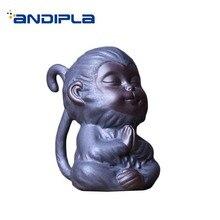 Bonita estatua mono té de cerámica mascota chino Kung Fu accesorios de juego de té decoración artesanías estatuillas de recuerdo de Boutique clásicas