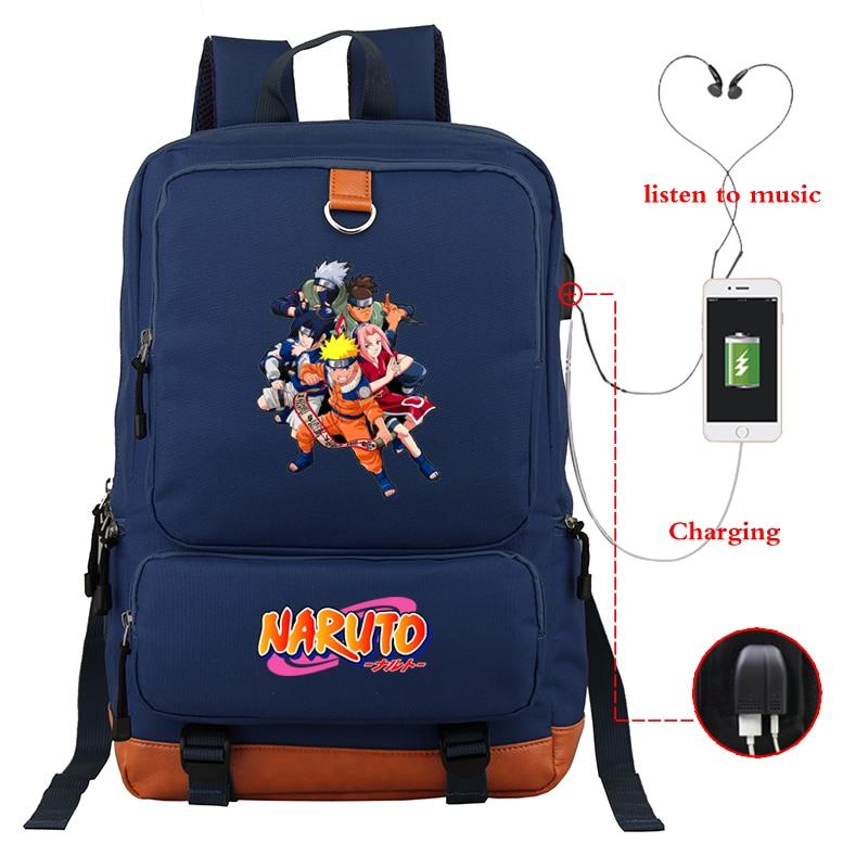 Mochila Azul Oscuro de gran capacidad Bagpack niñas niños mochilas escolares luminosas NARUTO Anime bolsa de viaje USB de carga Daypack