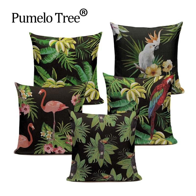 Barato verão estilo sudeste asiático tropical palmeira plantas e pássaros 45 cm x 45 cm quadrado casa sofá carro impresso travesseiro capa