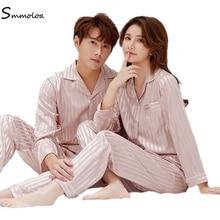 Smmoloa Satin soie pyjama ensembles Couple vêtements de nuit famille Pijama