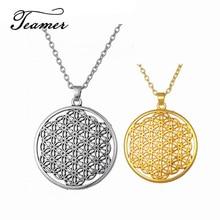 Teamer Blume des Lebens Talisman Amulett Knoten Anhänger Halskette für Frau/Mann Wicca Runde Halskette