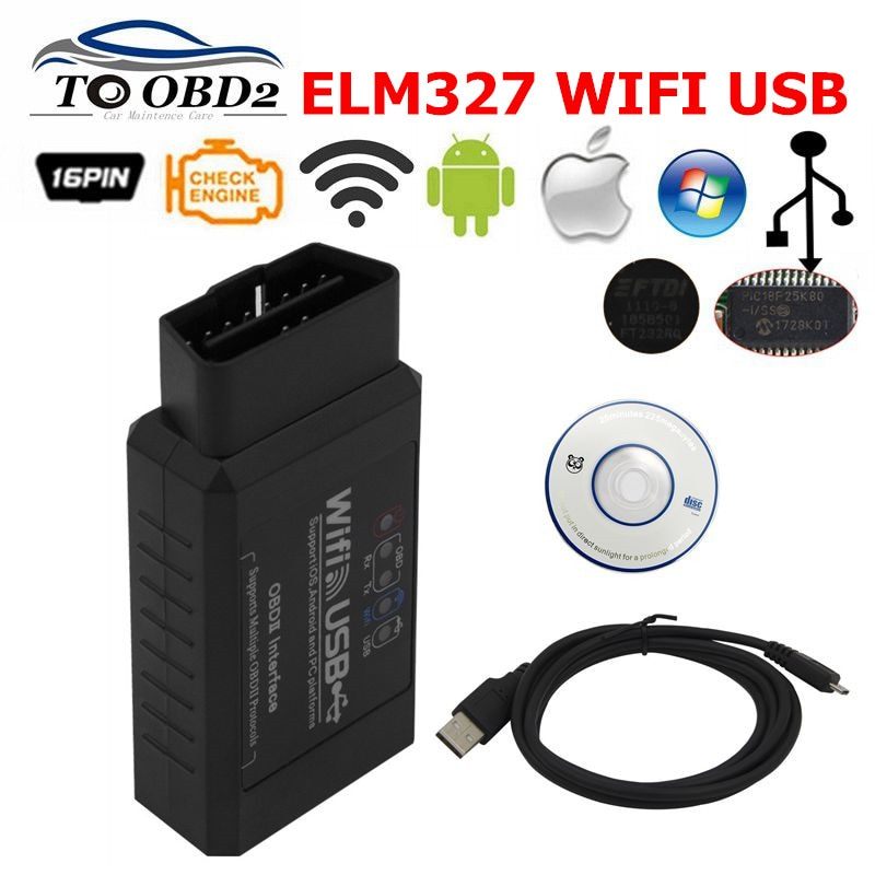 ELM327 USB WIFI 2.1 Code Reader Scanner ELM 327 2.1 with PIC18F25K80 & FT232RQ Chip Supports All OBDII protocols