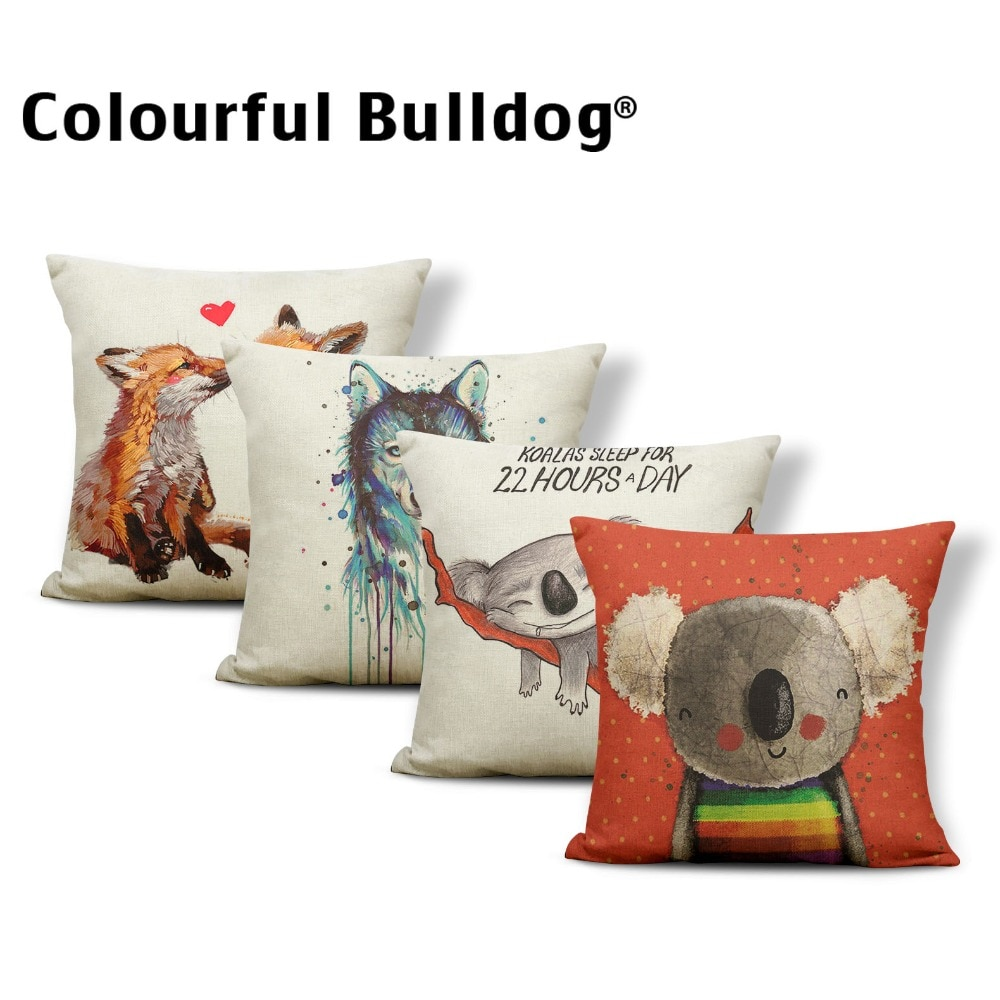 Funda de cojín de lobo Animal funda de almohada de flores de la palabra Fox Chic coche Nap Mat banda geométrica Throw Pillows Koala rojo 45*45 FOTO DE LINO