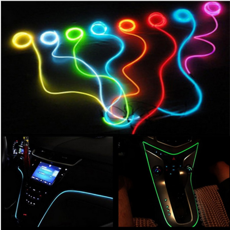Para BMW E60 E90 F10 F30 F15 E63 E64 E65 E86 E89 E85 E91 E92 E93 F02 M5 E61 F01 M Interior del coche LED EL de la cuerda de alambre de tubo de línea de