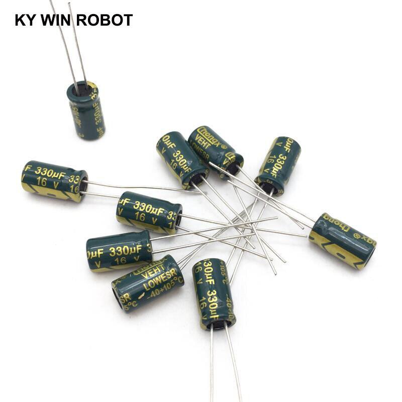 20 шт./лот 16 В 330 мкФ 6x12 мм высокочастотный низкоимпедансный алюминиевый электролитический конденсатор 330 мкФ 16 В