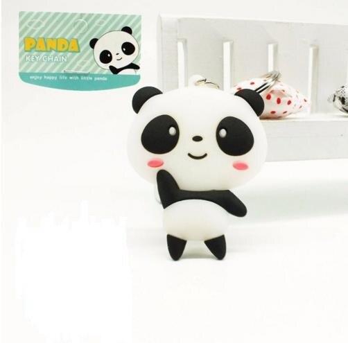 Venta al por mayor llavero de panda Kung Fu lindo dibujo de cara de oso gato de anime llavero de PVC de silicona regalo kawaii regalo femenino # A109