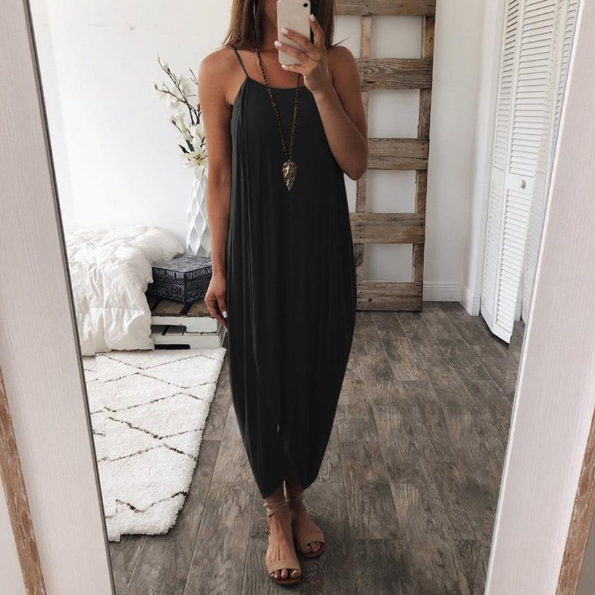 2019 Sexy Spaghetti Strap Black Dresses Knitted Women Casual Irregular Loose Maxi Dresses Summer Boho Beach Long Dress Vestidos