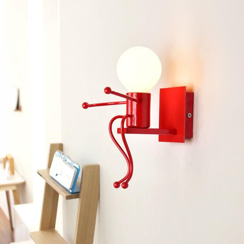 LED Wall light Small Iron Man Mounted on Wall Light E27 Base Creative Kids Baby Bedroom Corridor Wall Night Light without Bulb #
